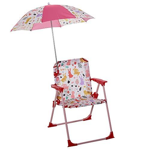 Outsunny Kinder-Campingstuhl mit Sonnenschirm Kinder-Strandstuhl Klappstuhl für 1-3 Jahre leichte...