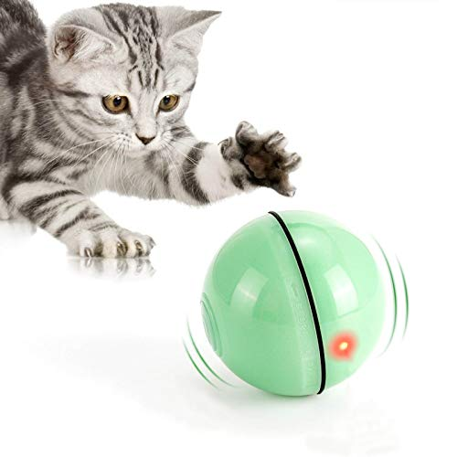 WWVVPET Interaktives Katzenspielzeug Ball mit LED-Licht, 360° Selbstdrehender Ball, USB...
