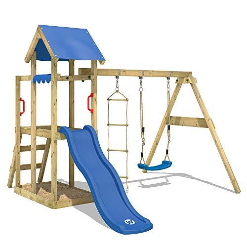 WICKEY Spielturm Klettergerüst TinyPlace mit Schaukel & blauer Rutsche, Kletterturm mit Sandkasten,...