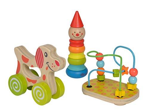 Eichhorn 100003750 Lernspielset bestehend aus Steckfigur Clown, Motorikschleife und Schiebehund, 3...
