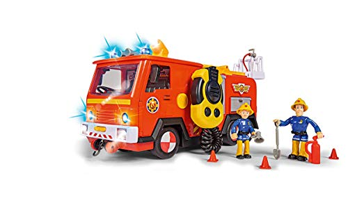 Simba 109251085 Feuerwehrmann Sam Ultimate Jupiter, Feuerwehrauto mit 2 Figuren, Licht und Sound,...