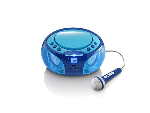 Lenco Kinder CD-Player SCD-650 mit Mikrofon, Karaoke-Funktion und Lichteffekten (CD / MP3, USB, AUX,...