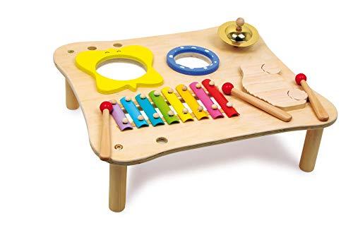 Small Foot 1166 Musiktisch aus Holz, inkl. Xylophon, Ratsche, Schelle, Trommel und Holzschlegl, ab 3...