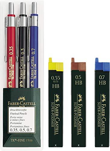 Faber-Castell 130622 Druckbleistift TK-FINE 3er Etui (je ein Stift 0,35 mm, 0,5 mm und 0,7 mm) Spar-Set...