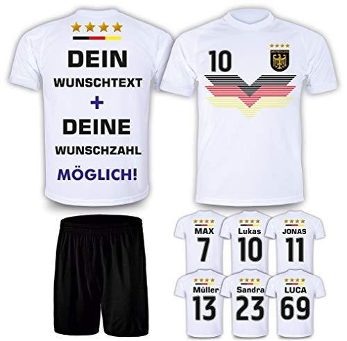 DE FANSHOP Deutschland Trikot + Hose mit GRATIS Wunschname + Nummer + Wappen Design #D9 2021/2022 EM/WM...