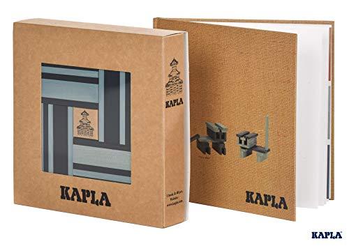 KAPLA 9000105 Holzplättchen 40er Box Blau + Buch