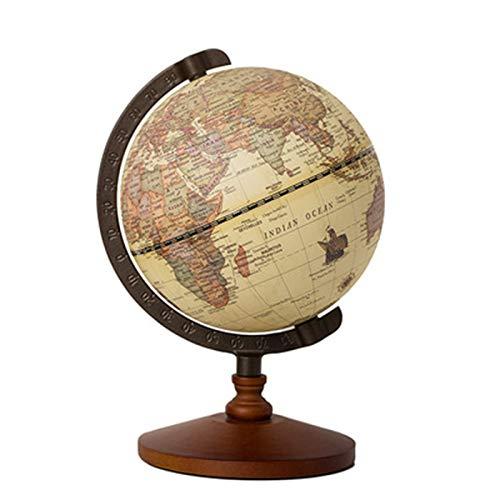 Huachaoxiang Antiker Globus,Mit Holzsockel, Vintage Dekorative Desktop Weltkugel Rotierende Geographie...