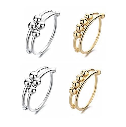 Angst Round Beads Ring, Einstellbare Offene Ringe, Stress Reliever Spinner Perlen Fingerring, Adjustable...