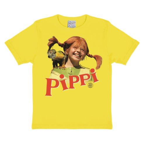 Logoshirt Pippi Langstrumpf Äffchen Kinder T-Shirt I Grafik-Shirt kurzärmlig mit Rundhalskragen I...