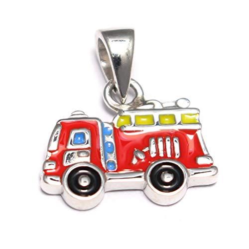 Kleiner Feuerwehrauto Anhänger 925 Sterling Silber, Feuerwehrmann Kettenanhänger Silber, Kinderschmuck...
