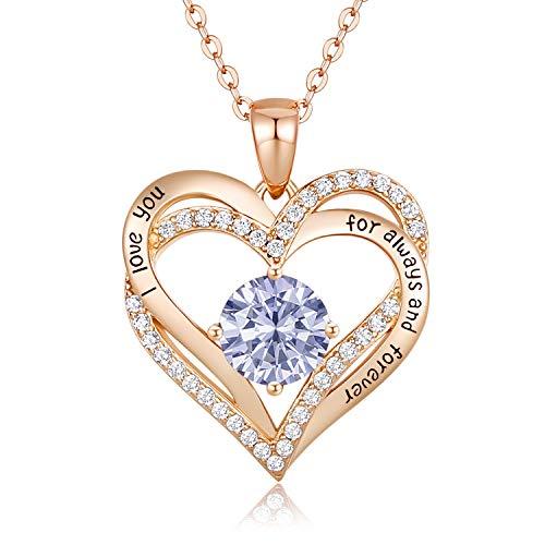 CDE 925 Sterling Silber Juni Geburtsstein Roségold Herz Halskette, 5A Zirkonia Birthstone Anhänger...