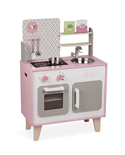 """Janod J06567 """"Macaron"""" Holzherd für Kinder, ausgestattet mit einem Kühlschrank und einer..."""