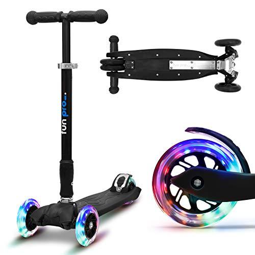 fun pro Two - ab etwa 5 Jahre, bis 80KG Gewicht, der sichere Premium Kinder Roller, LED Räder, faltbar,...