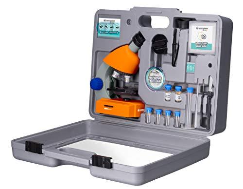 Bresser Junior Mikroskop 40x-640x mit LED-Durchlichtbeleuchtung, Zoom-Monokular, Batteriebetrieb und...