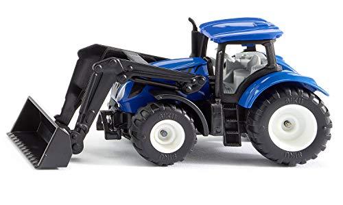Siku 1396, New Holland Traktor mit Frontlader, Metall/Kunststoff, Blau/Schwarz, Beweglicher Frontlader,...
