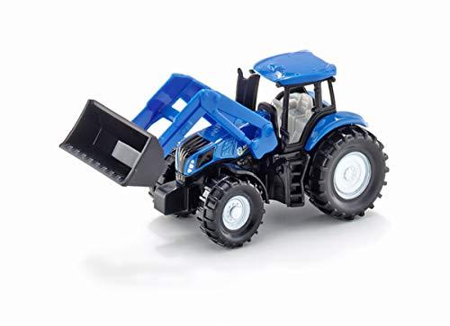 siku 1355, New Holland Traktor mit Frontlader, Metall/Kunststoff, Blau, Beweglicher Frontlader