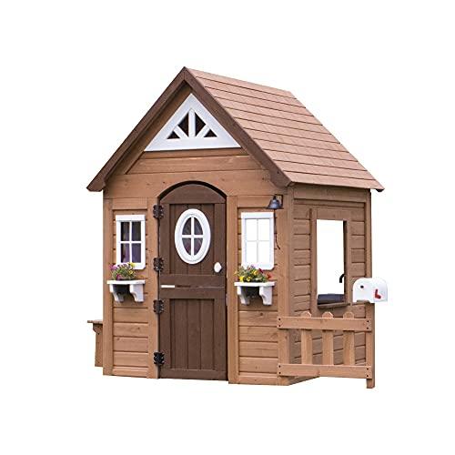 Backyard Discovery Spielhaus Aspen aus Holz | Outdoor Kinderspielhaus für den Garten inklusive Zubehör...