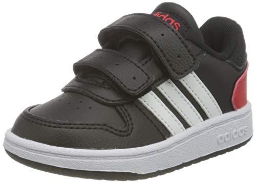 adidas Hoops 2.0 CMF I Basketball Shoe, Core Black/Cloud White/Vivid Red, 27 EU
