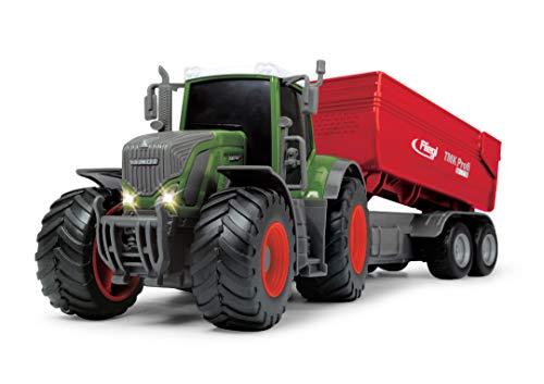 Dickie Toys 203737002 Fendt 939 Vario Spielzeugtraktor mit Fliegl Anhänger, Bauernhof Spielzeug, Heben...
