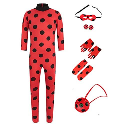 Kinder Festlich Party Overall, Mädchen Marienkäfer Ladybug Cosplay Fasching Kostüm Jumpsuit für...