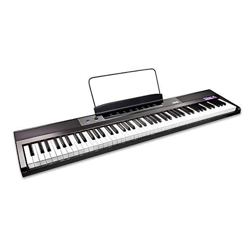 RockJam 88 Tasten Digital Keyboard Klavier mit halbgewichteten Tasten in voller Größe, Netzteil,...