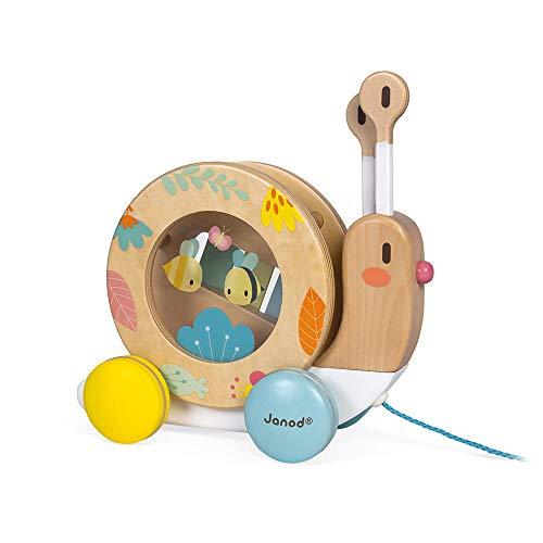 Janod - Pure Nachziehtier Schnecke - Holzspielzeug mit Xylophon und Tamburin - Musikalisches Montessori...