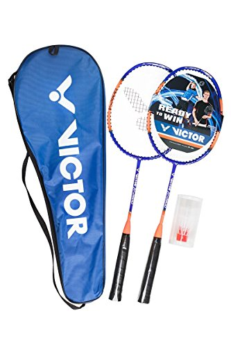 VICTOR Badminton-Set V-2900 Premium Kinder & Junior Set - 2 Badmintonschläger mit verkürztem Schaft &...