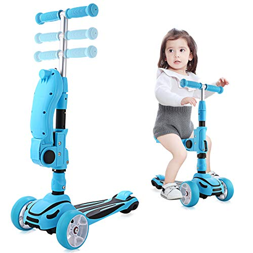 Hikole Scooter Kinder mit Klappsitz 2-in-1...