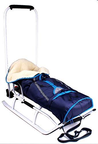 3in1 Kinder Schlitten Sport Rodel für Kinder, Babys mit Rückenlehne, Fußsack, Schiebegriff und Gurt...
