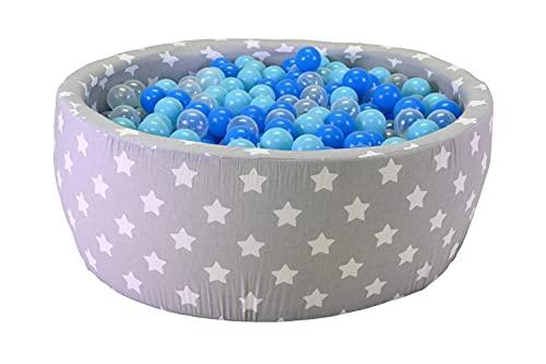 Knorrtoys 68163 - Bällebad Soft - Grey White Stars - 300 Bälle Soft Blue/Blue/transparent