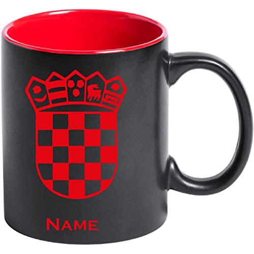 aina Tasse Kaffeetasse Kroatien Croatia Hrvatska Flagge Wappen mit Namen Bedruckt