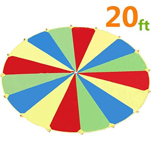 6M Schwungtuch für Kinder und Familie,Bunt Fallschirm Parachutes Spielzeug