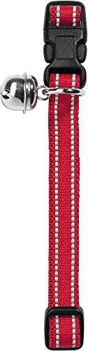 HUNTER FLASHLIGHT Katzenhalsband, Nylon, elastisch, reflektierend, Glöckchen, rot