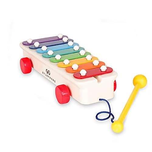 Fisher-Price Klassiker FISH800502 Retro Xylophon Musikinstrument, Kinderxylophon mit angebundenem...