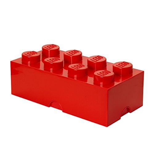 LEGO Aufbewahrungsstein, 8 Noppen, Stapelbare Aufbewahrungsbox, 12 l, Rot