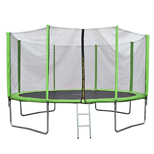 JAWINIO Trampolin Gartentrampolin Trampolin Kinder Komplett-Set Leiter Sprungtuch Randabdeckung (427 cm,...