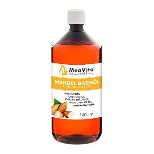 MeaVita Mandelöl Basisöl, 1er Pack (1 x 1000 ml) vegan, gentechnikfrei, ideal zur Haut- und Haarpflege,...