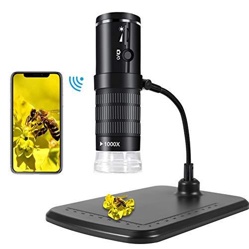 KNMY WiFi Mikroskop, 1080P USB Digital Mikroskop Kamera für Kinder, 8 LED WiFi Endoskopkamera 50X bis...