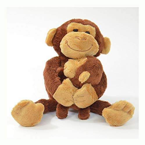 Kögler 75955 - Labertier Affe mit Baby Nana und Coco, ca. 23 cm groß, nachsprechendes Plüschtier mit...