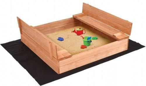 ADGO Geschlossen Holzsandkasten 120 x 120 cm mit Bänken Das Set enthält Agrotextilvlies zur Isolierung...