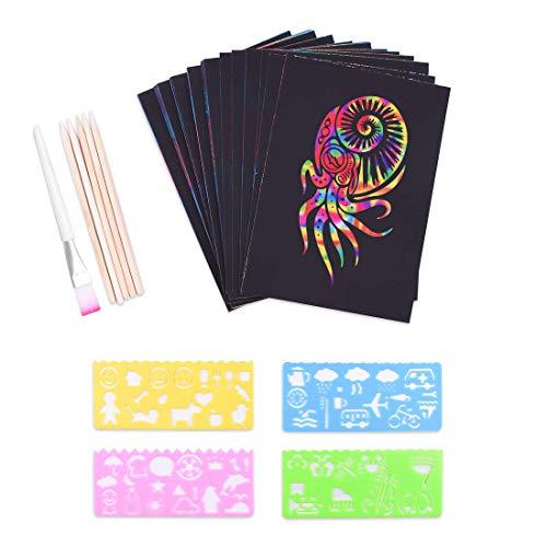 Kratzbilder Set für Kinder,Kratzpapier Set, 50 Große Blätter Regenbogen Kratzpapier zum Zeichnen und...