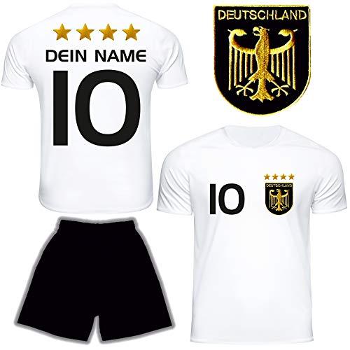 DE FANSHOP Deutschland Trikot mit Hose & GRATIS Wunschname Nummer Wappen Typ #D 2021 im EM/WM Weiss -...