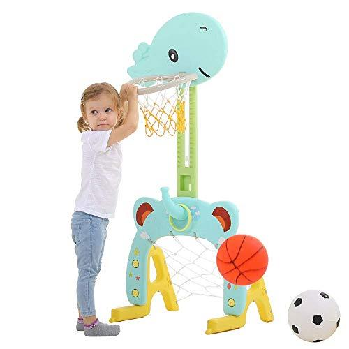 Basketballkorb Set Basketball Spielzeug 3 in 1 Sport Aktivität Schießspiel Einstellbares Ringwurf...