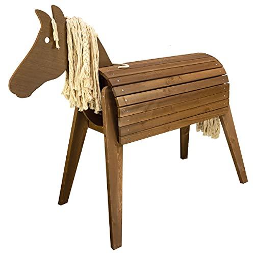 Meppi Outdoor-Pferd für den Garten - Holzpferd für Kinder aus wetterfestem Holz