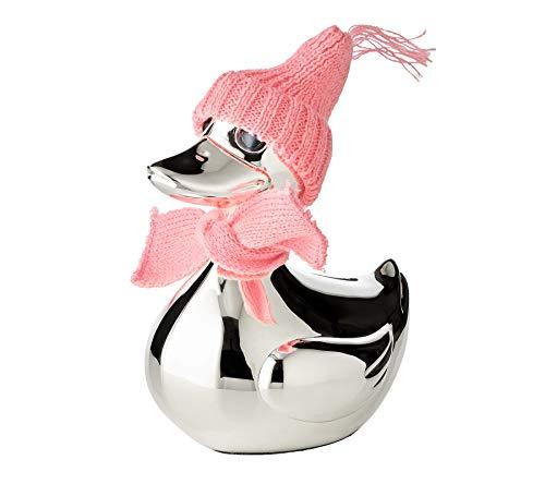 EDZARD Spardose Ente, Sparbüchse mit Schal und Mütze in rosa und hellblau, edel versilbert und...