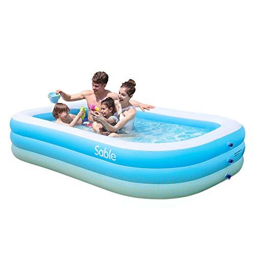 Sable Aufblasbarer Pool, 234 x 142 x 51cm großer Family Pool, Schwimmbecken rechteckig für Kinder ab 3...
