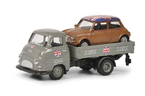 Schuco Hanomag Mini-Service, Hanomag Kurier mit Ladegut Mini Cooper, Modellauto, Maßstab 1:87, grau
