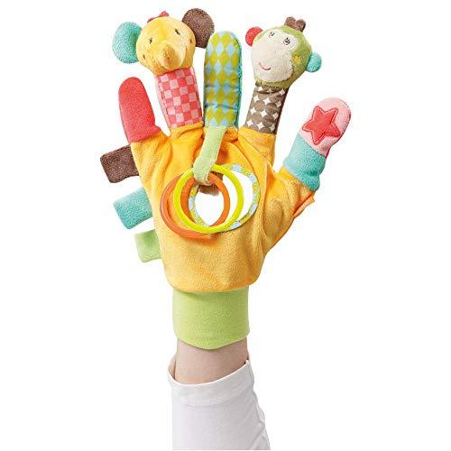 Fehn 074604 Spielhandschuh Safari – Fingerpuppen-Handschuh Affe und Elefant mit Rassel und Quietsche...