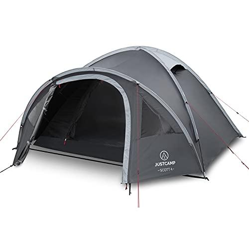Justcamp Scott 4 Camping Zelt 4 Personen, Iglu Zelt mit Vorraum, Schlafkabine (dark)