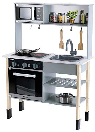 Theo Klein 7199 Miele Küche I Weiße Holzküche inkl. Kochfeld mit Sound- und Licht I Maße: 70 cm x 30...